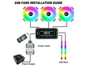 GIM KB-28 RGB Case Fans, 3 Pack 120mm Quiet Computer Cooling LED Fan for PC case and CPU Cooler, Colorful Rainbow Speed Adjustable Cooler with Hub