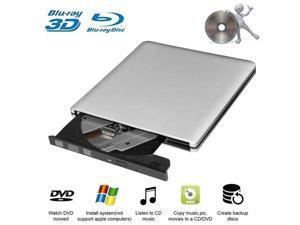 External Blu-Ray DVD Drive USB 3.0 Portable Ultra-Thin 3D CD BD Blu-ray Player/Writer/Burner BD-ROM for Computer PC Desktop Laptop-Does not include tablets (Silver)