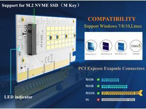 MAIWO M.2 expansion card KT058A  NVMe SSD  to PCIe 3.0 X16/X8/X4 adapter M Key Converter Card Support 2230 2242 2260 2280,Compatible with Windows 7/8/10 & Linux ,BTC accessories
