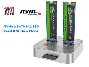 MAIWO K3016CL Dual-Bay M.2 NVMe & SATA Docking Station,USB C 3.1 Gen2 10Gbps to M.2 NVMe PCIe/SATA (NGFF) SSD Clone Dock with SD7.1 Card Reader,Support Offline Clone Function and Auto Sleep Function