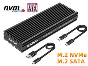 MAIWO M.2 SATA and NVMe Combo  SSD Enclosure with Aluminum Heat Sink Shell, USB3.2 Gen2 Type C 10Gbps. Fits B+M key and M-key M.2 2242,2260,2280,Type C to A and Type C to C Cable Included