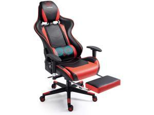 X-VOLSPORT Gaming Chair Office High Back Chair with Footrest, Racing Style PU Leather Ergonomic Computer Video Game Chair with Headrest and Lumbar Massage