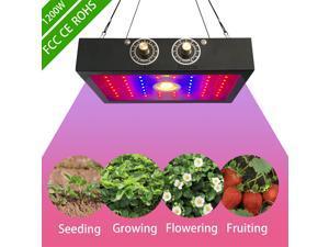 LED Grow Light - 1200W Sunlike Full Spectrum Growing Lights for Indoor Plants with COB Integration Dual-chip 10 Watt LEDs Lamp Adjustable Veg & Bloom Switch Black