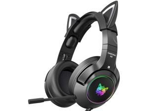 ONIKUMA Gaming Headset with Removable Cat Ears, for PS5, PS4, Xbox One (Adapter Not Included), Nintendo Switch, PC, with Surround Sound, RGB LED Light & Noise Canceling Retractable Microphone (Black)