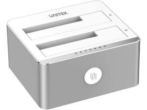 Aluminum USB 3.0 to SATA Dual Bay External Hard Drive Docking Station with UASP for 2.5 / 3.5-inch HDD SSD, Hard Drive Duplicator/Offline Clone Function (2 x 16TB Support)-Silver