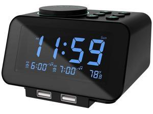 Digital Alarm Clock Radio - 0-100% Dimmer, Dual Alarm with Weekday/Weekend Mode, 6 Sounds Adjustable Volume, FM Radio w/Sleep Timer, Snooze, 2 USB Charging Ports, Thermometer, Battery Backup