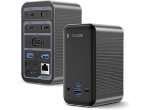 Docking Station USB-C 4K Quadruple Display Universal Laptop Docking Station for MacBook and Windows (3 HDMI, VGA, Gigabit Ethernet, USB-C 3.0, 87W PD and 4 USB Ports), Triple Display for macOS