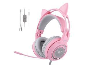 SOMIC Pink Stereo Gaming Headset with Mic for PS4, Xbox One, PC, Mobile Phone, 3.5MM Sound Detachable Cat Ear Headphones Lightweight Self-Adjusting Over Ear Headphones for Women
