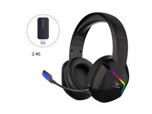 SOMIC 2.4G Wireless Gaming Headset with Microphone for PS5, PS4, Computer Gamer Headphone with Stereo Sound, Detachable Mic, Soft Earmuffs, RGB LED Light, 10H+ Playtime (Xbox one in Wired Mode)