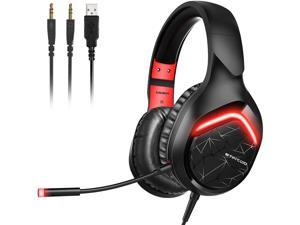 SOMIC Stereo Gaming Headset for Xbox one, PS4, PS5, PC, Phone 3.5mm Plug Over Head Earphone with Detachable Mic, LED Light, Soft Earmuffs, Volume Controller Office Gamer Headsets GS301