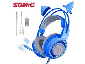 SOMIC blue Stereo Gaming Headset with Mic for PS4, Xbox One, PC, Mobile Phone, 3.5MM Sound Detachable Cat Ear Headphones Lightweight Self-Adjusting Over Ear Headphones for Women