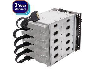 """Full Metal 5 Bay 3.5"""" HDD Hard Disk Drive Mounting Cage Internal HDD Cage Module 5.25"""" to 5x 3.5"""" HDD Mounting Kit Chia dedicated Enclosure HDD Bracket with SATA and Power Cables (HDD NOT included)"""