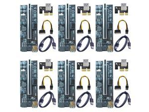 6-pack VER 009C+ Multi-interface PCIe Riser Card Riser Adapter with 8 solid capacitors and dynamic LED lights PCI Express 1X to 16X Extender Mining Rig Graphics card extension PCIE Extension GPU Riser