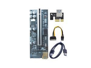 1-pack VER 009C+ Multi-interface PCIe Riser Card Riser Adapter with 8 solid capacitors and dynamic LED lights PCI Express 1X to 16X Extender Mining Rig Graphics card extension PCIE Extension GPU Riser