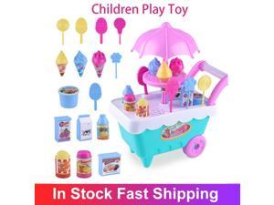 Kids Car Toys Children Play Toy Cart Gifts Simulation Lollipop Ice Cream Candy Trolley Kitchen Shopping Supermarket Toy For Girl