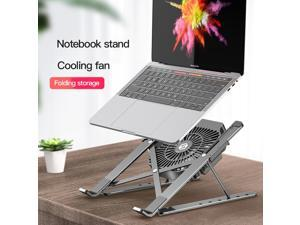 Portable Foldable MacBook Stand Laptop Stand with Cooling Fan Adjustable Aluminum Alloy Notebook Holder for 10-17inch Laptop