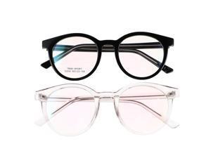 2 Pairs Fashionable Eyeglasses Frame Unisex Round Shaped Fashion Eye Protector Eyewear for Students Gaming Adults