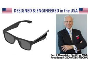eEAR BTG-02-2 Designer Bluetooth Audio Smart Glasses with Blue Light Filter Lenses Exceptional Open-Ear Audio  Sound Unisex Designed and Engineered in the USA