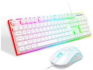 Gaming Keyboard and Mouse Combo, MageGee GT838 RGB Backlit Keyboard 104 Keys Aluminum Panel USB Quiet Wired Computer Keyboard for Windows PC Laptop (White/Silver)