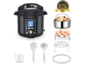 13-in-1 Electric Pressure Cooker, Instant LCD Digital Pressure Pot, 6 Quart, 304 Stainless Steel Slow Cooker, Steamer, Rice Cooker, Cake Maker, Sterilizer, Saute, Egg Cooker with 8 Practical Accessory