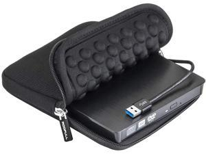 USB 3.0 External CD DVD Drive with Protective Storage Carrying Case Bag, Portable DVD/CD ROM +/-RW Drive Burner Rewriter for Windows 10/8/7, Mac, Linux Laptop Desktop, MacBook Pro/ Air, iMac