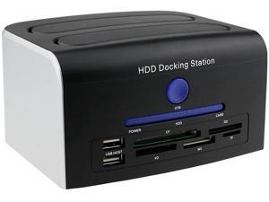 """HDD Docking Station, Multi-Function External Hard Drive Docking Station for 2.5"""" 3.5"""" IDE SATA 8 TB Hard Disk with One Touch Backup(OTB),Support XD/MS/TF/CF/SD Card"""