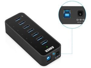 7-Port USB 3.0 Data Hub with 36W Power Adapter and BC 1.2 Charging Port for iPhone 7/6s Plus, iPad Air 2, Galaxy S Series, Note Series, Mac, PC, USB Flash Drives and More