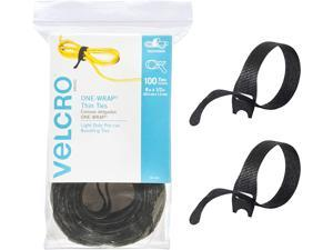 """Brand ONE-WRAP Cable Ties   100Pk   8 x 1/2"""" Black Cord Organization Straps   Thin Pre-Cut Design   Wire Management for Organizing Home, Office and Data Centers"""