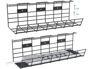 Cable Management Tray, 34in Under Desk Cable Tray, Metal Cable Tray to Hide Cables and Power Strips, Under Desk Cable Management Tray for Home and Office, 2X L17in x W4.1in x H4.7in, Black