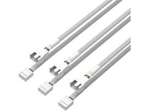 3 Pack 4 Pin PWM Fan Power Extension Cable White Sleeved Braided Adapter PC Fan Power Extension Cable for Computer ATX Case 4 Pin 3 Pin Cooling Fan Cable White 18inch 50cm