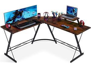 L Shaped Desk Home Office Desk with Shelf, Gaming Computer Desk with Monitor Stand, PC Table Workstation with Shelf, Vintage