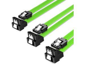 3PACK SATA Cable III 3 Pack 90 Degree Straight to Right Angle 6Gbps HDD SDD SATA Data Cable with Locking Latch 50cm 18 Inch for SATA HDD, SSD, CD Driver, CD Writer, White