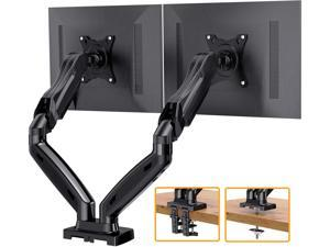Dual Arm Monitor Desk Mount Stand, Adjustable Gas Spring, Swivel VESA Mount with C Clamp Grommet Mounting For Most 17-27 Inch Flat Curved Computer Screens up to 14.3lbs