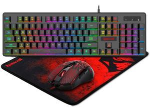 S107 Gaming Keyboard and Mouse Combo Large Mouse Pad Mechanical Feel RGB Backlit 3200 DPI Mouse for Windows PC (Keyboard Mouse Mousepad Set)