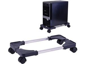 Computer Tower Stand Adjustable PC CPU Stand, Mobile Desktop ATX-Case Stand with Locking Caster Wheels