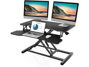 "Height Adjustable Standing Desk Converter 32"" Wide Sit to Stand Desk Tabletop Workstation SD308001WB"