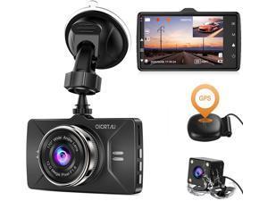 Dash Cam Front and Rear GPS Full HD 1080P CHORTAU,Dual Dash Cam GPS for Cars Wide Angle 170° 3 Inch LCD Screen,Front and Rear Camera for cars with Parking Monitor,Loop Recording, Night Vision,G-Sensor