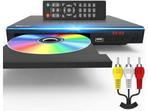 DVD Player for TV All Region Free DVD Player with AV Output and USB Input, Remote Control and AV Cable Included