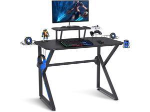 Gaming Desk 39 Inch Computer Desk Gaming Table K Shaped Pc Gaming Workstation Home Office Desk with Headphone/CD Holder, Gaming Controller Rrack,Black