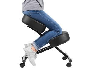 VIVO Ergonomic Kneeling Chair, Adjustable Stool for Home and Office - Improve Your Posture with an Angled Seat - Thick Comfortable Cushions, Black, DN-CH-K01B