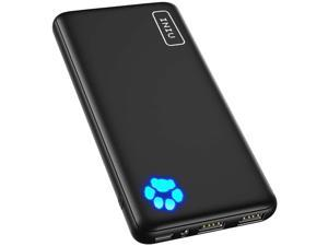 Portable Charger, USB C Slimmest & Lightest Triple 3A High-Speed 10000mAh Power Bank, Flashlight Battery Pack Compatible with iPhone 12 11 X 8 Plus Samsung S20 Google LG iPad etc. [2021 Version]
