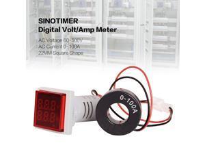 SINOTIMER Digital AC Voltmeter Ammeter 50-600V 100A 22mmLED Current Indicator Voltage Meter Mini Volt Amp Tester Aquare Panel