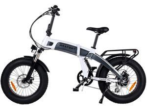 """MaxFoot Folding Electric Bike 1000W Mountain Snow Ebike, 20"""" Fat Tire Full Suspension Electric City Bicycle, White"""