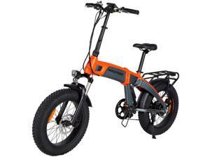 "MaxFoot Folding Electric Bike 1000W Mountain Snow Ebike, 20"" Fat Tire Full Suspension Electric City Bicycle, Orange"