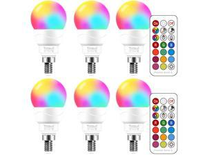 Yangcsl E12 LED Light Bulbs 40W Equivalent, RGB Color Changing Light Bulb, Memory - Sync - Dimmable, A15 Candelabra Screw Base, Timing Remote Control Included (Pack of 6)