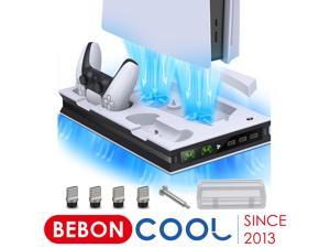 BEBONCOOL PS5 Controller Charger Console Vertical Cooling Fans Stand Type-C Fast Charging Station For  Playstation 5 Disc/Digita