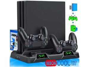 BEBONCOOL PS4 Stand Cooling Fan for PS4 Slim/PS4 Pro/PlayStation 4,PS4 Pro Stand Vertical Stand Cooler with Dual Controller Charge Station & 16 Game Storage,PS4 Organizer Stand with Game Storage