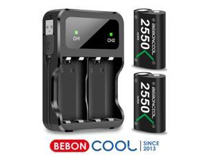 Charger for Xbox One  Battery Pack,BEBONCOOL  2x2550 mAh Rechargeable charger kit for Xbox Series X|S/Xbox One/Xbox One S/Xbox One X/Xbox One Elite Controller pack
