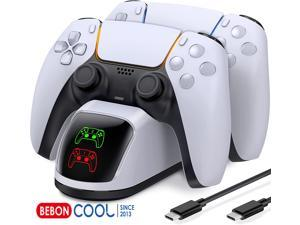 BEBONCOOL PS5 Controller Charger , PS5 Controller Charging Station Compatible with Playstation 5 PS5 DualSense Controller, Dual PS5 Charging Station for Sony PS5 Remote w/Fast Charging Type C Cable