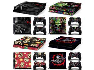 Skull Design for PS4 Vinyl Removable Waterproof Decal Skin Sticker for Sony Playstation 4 Pro Console&Controller Protector Cover